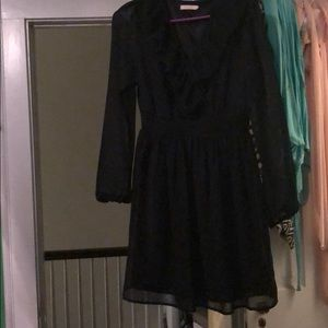 Half lace black dress